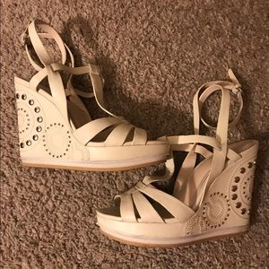 ✨ Coach leather wrapped wedge sandal  ✨